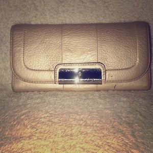 Coach Metallic Leather Large Clutch Wallet